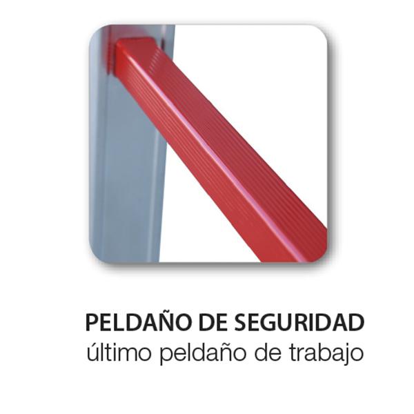 Este peldaño rojo te indica visualmente hasta que altura podrás subir para trabajar de forma segura